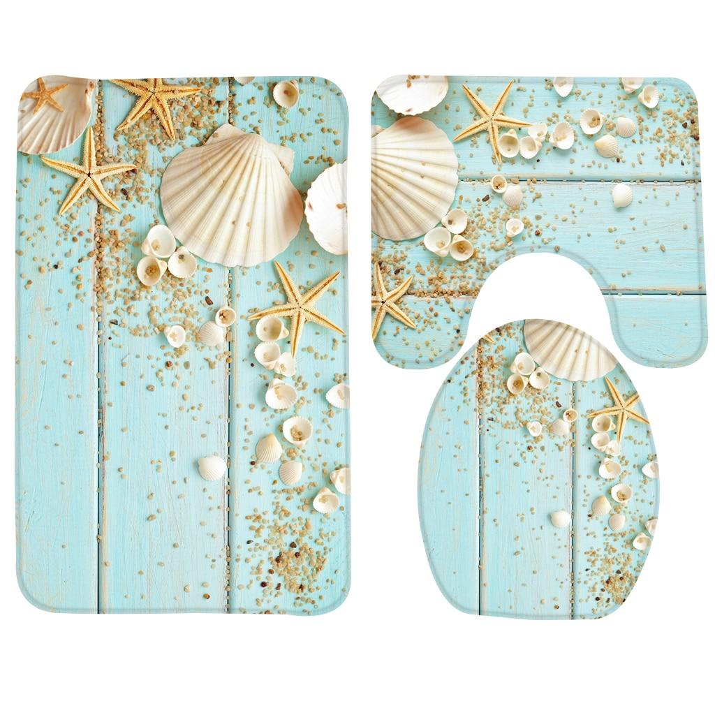 3pcs Bath Mat Set Beach Starfish Decoration Shells Pebbles Pattern Bathroom Rug Anti Slip Toilet Mat Set Bathroom Products