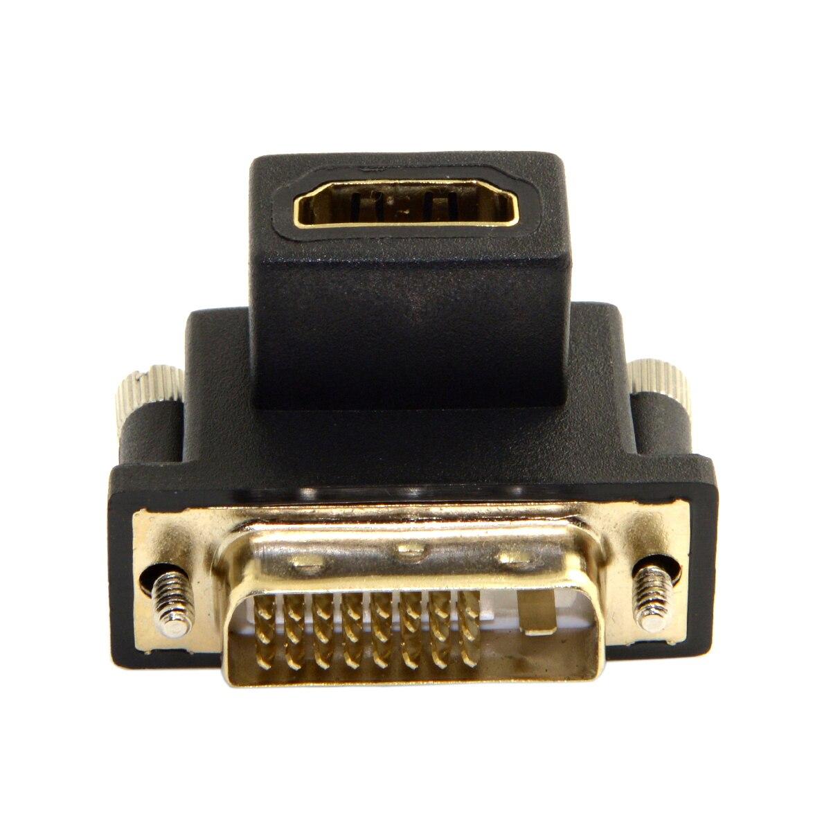 10 unids/lote-Cable CY 90 grados abajo ángulo DVI macho a HDMI hembra adaptador giratorio para ordenador y HDTV y tarjeta gráfica