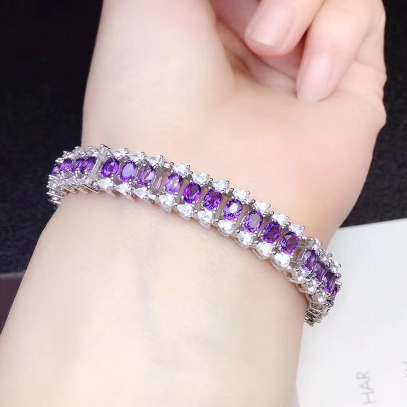 CoLife Jewrelry 925 Silver Amethyst Bracelet for Wedding Natural Amethyst Silver Bracelet Solid Sterling Silver Amethyst Jewelry