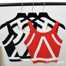 Summer Women Fashion Slim Knitting Tank Crop Tops Female Bodycon Knitted Camisole Sleeveless Short Geometric T shirts G557