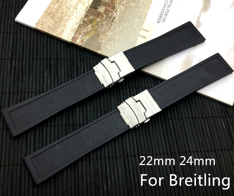 Superior calidad de marca de silicona negro correa de goma para reloj 22mm24mm correa de reloj de pulsera para navitimer/vengador/Breitling con logotipo