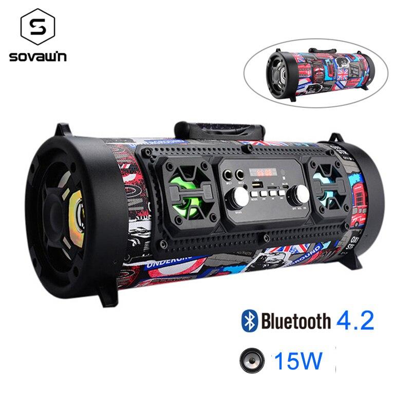 15 Вт Портативный уличный Bluetooth 4,2 динамик fm-радио USB автомобильный сабвуфер HD объемный стерео беспроводной динамик поддержка TF AUX Mic MP3