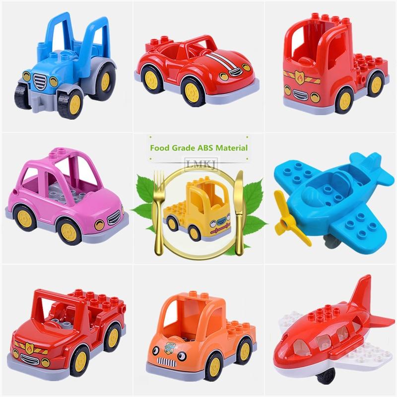 Diy juguetes de ladrillos para niños de gran tamaño duploé clásico de la serie de tráfico de la ciudad bloque de construcción ensamblar coche de autobús