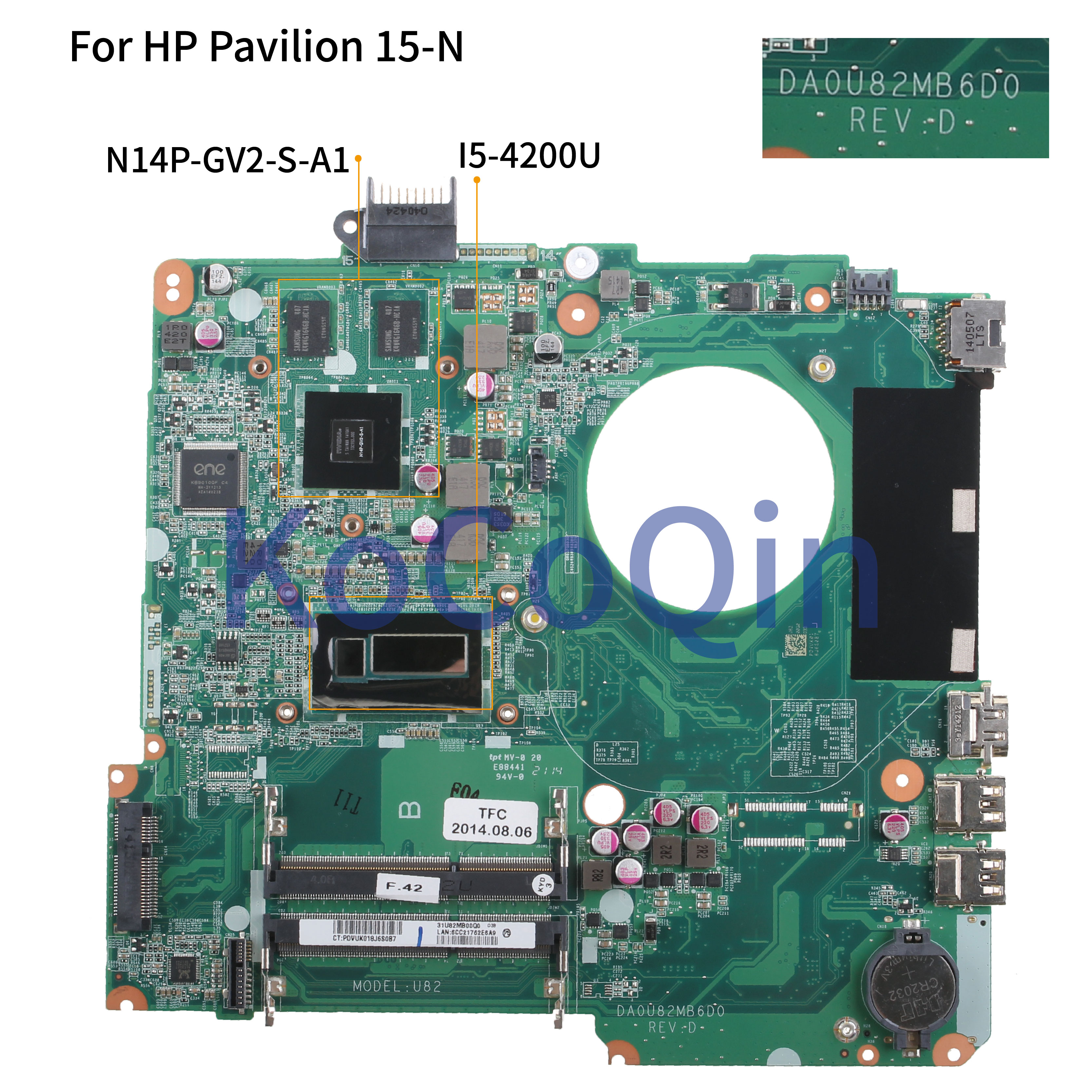 KoCoQin اللوحة لابتوب HP جناح 15-N 15-n005TX 15'6 اللوحة 736377-001 736377-501 DA0U82MB6D0 SR170 I5-4200U