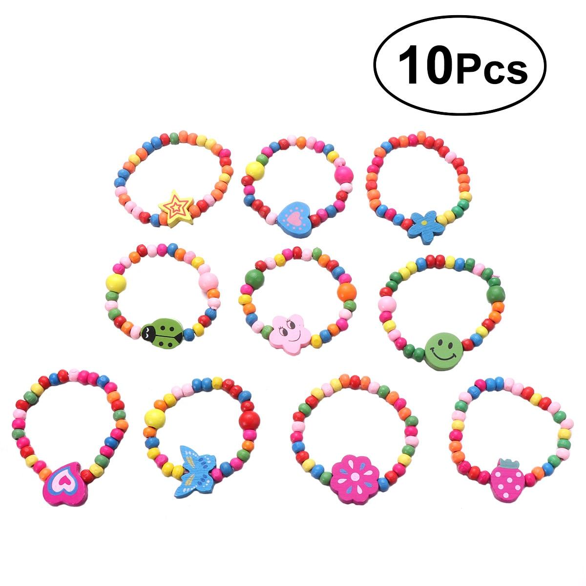 10 pièces perles de bois colorées lots mélangés Bracelets en bois enfant fille garçon enfants jouet cadeaux enfant fête sac charges pour les filles enfants