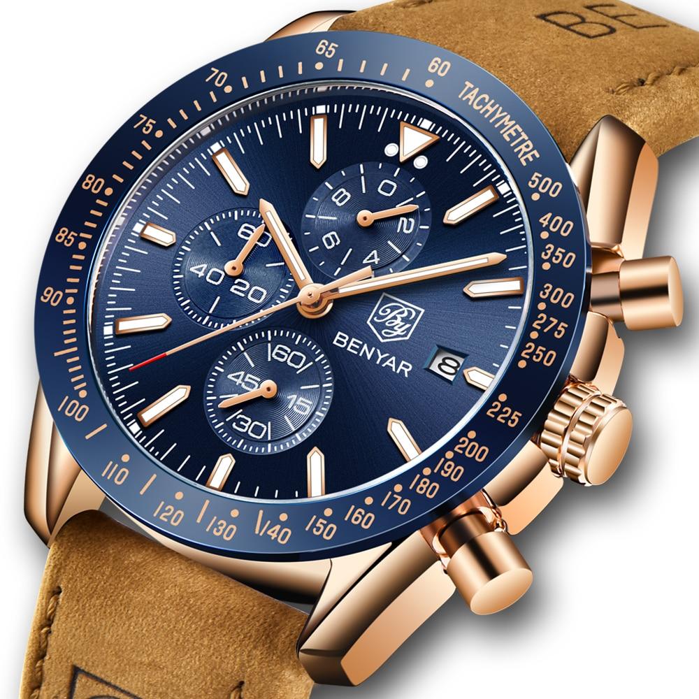 BENYAR Men Watches Brand Luxury Silicone Strap Waterproof Sport Quartz Chronograph Military Watch Me
