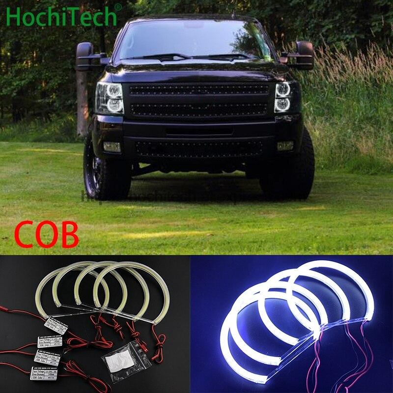 HochiTech для 2007-14 Chevrolet Silverado 1500 2500 3500 автомобильный Стайлинг ультра яркий белый светодиодный COB Angel Eye Halo светильник без ошибок