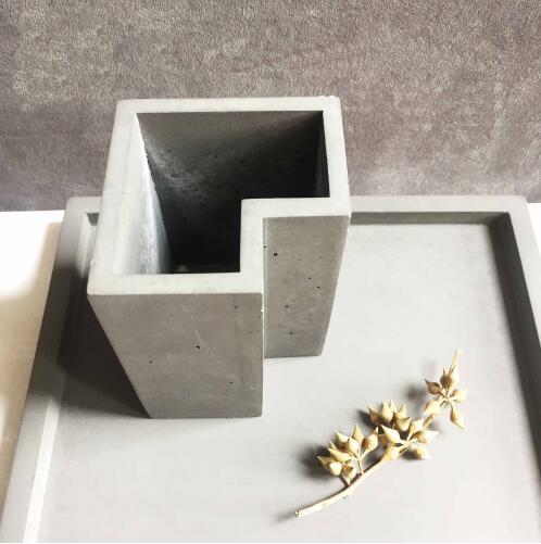 Porta pluma de escritorio molde de gel de sílice moderno viento geométrico irregular cemento pluma titular maceteros de cemento moldes