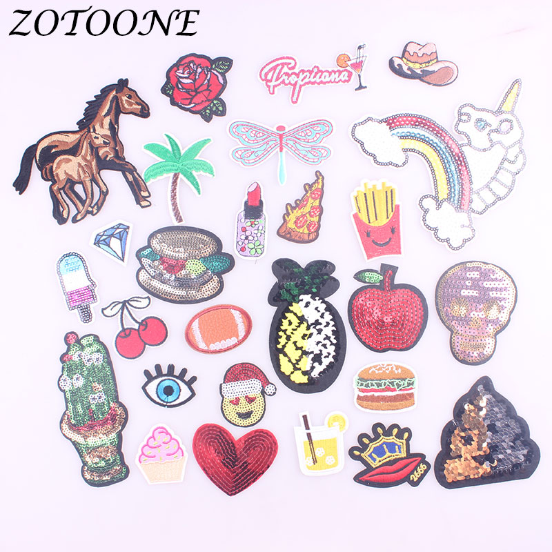 ZOTOONE Horse Pineapple Unicorn Patch Iron on Patch for Clothing Embroidery Skull Sequin Sticker Badge DIY Apparel  Accessories
