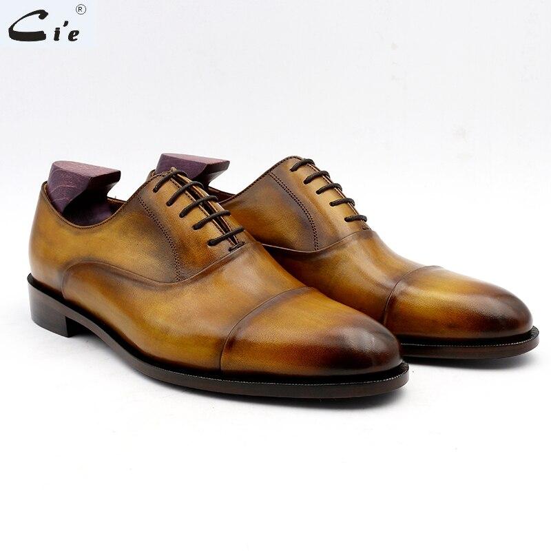 Cie أكسفورد patina captoe البني جلد العجل الحقيقي الرجال الأحذية الأعمال الجاهزة الأحذية اليدوية يمكن تسليمها بسرعة أو مخصص