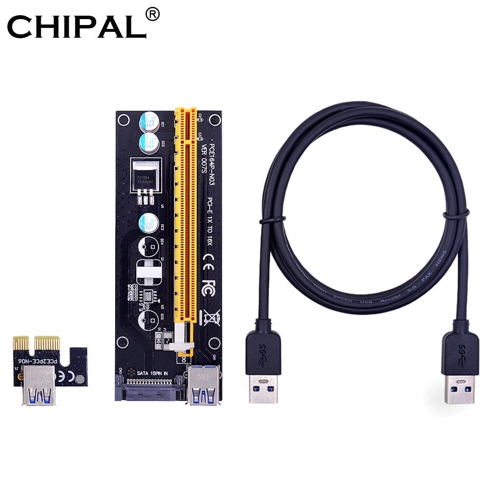 CHIPAL negro 100CM VER007S PCI-E Riser Card 007S PCIE 1X a 16X extensor 15Pin SATA fuente de alimentación Cable USB 3,0 para BTC LTC minero