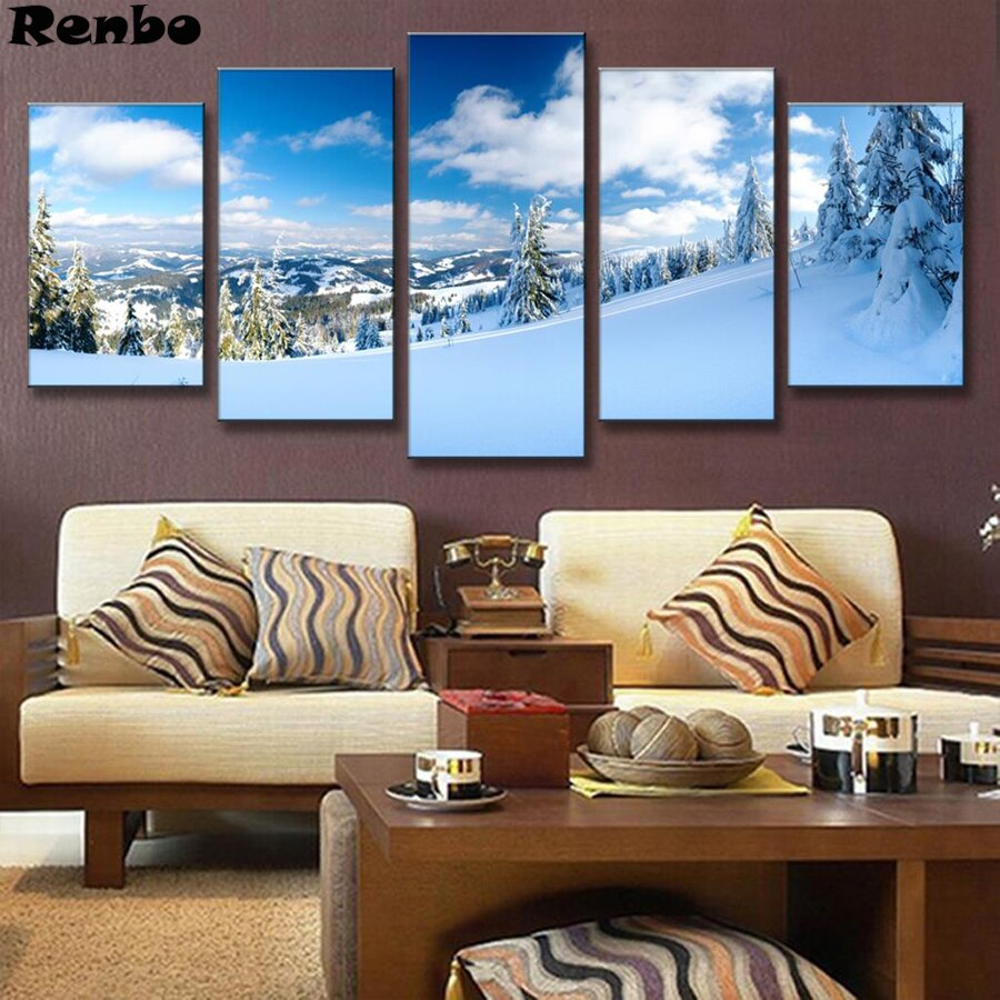 5D diy Diamond painting 5 Pcs/set Landscape Diamond Embroidery Winter Snow Mountain full square/round mosaic kit cross stitch