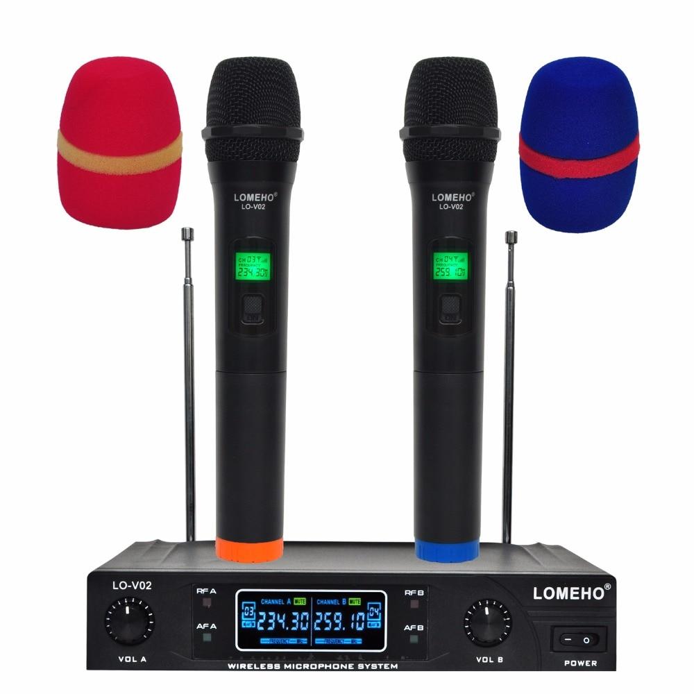 Lomeho LO-V02 RU/BR/US Warehouse 2 cápsulas dinámicas de frecuencia VHF Portátil 2 canales sistema con micrófono inalámbrico para Karaoke