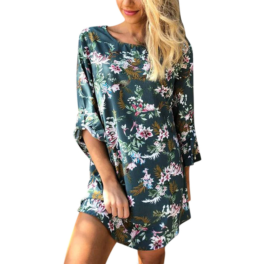 Verano de 2019 NewWomen verano Bohe flores impresión rollo Casual de manga corta Mini Vestido de playa Vieira ajuste fresco la onda