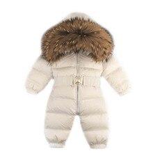 Real ful casacos para crianças rússia inverno bebê crianças meninas meninos snowsuit macacão de pele real bebes criança para baixo jaqueta com capuz