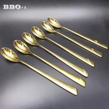 6pcs 8.3'' High quality 304 Stainless Steel Gold Tea Coffee Spoon Luxury Golden Printed Dessert Ice Cream Tea Spoons Set
