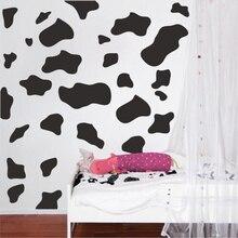 Autocollant mural en forme de vache   50 pièces, décor mural en vinyle, à pois, Animal lait ou peau de vache, pour chambre à coucher, salle de jeu