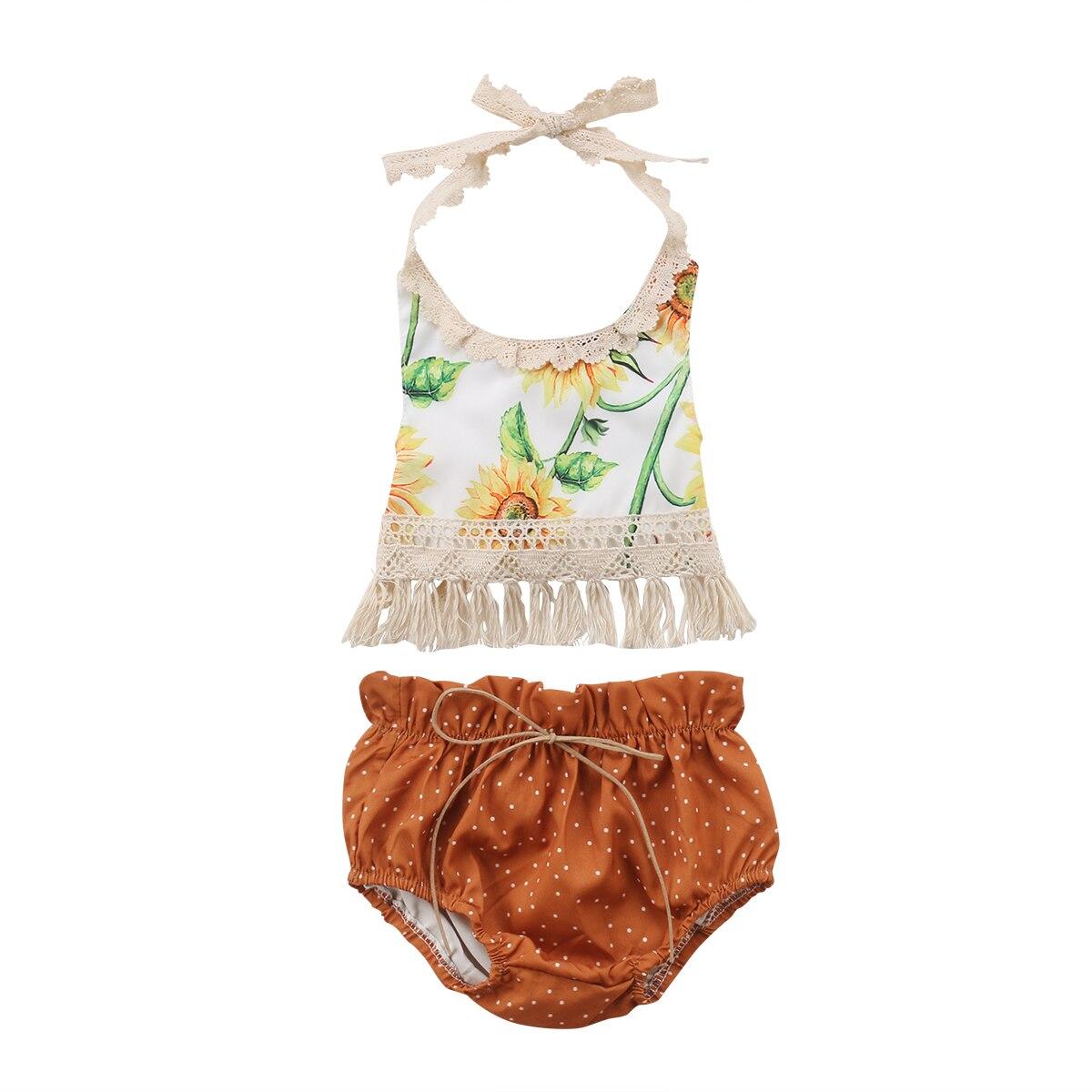 Crianças recém-nascidos conjunto de girassol bebê meninas flor borla topos shorts outfits sunsuit