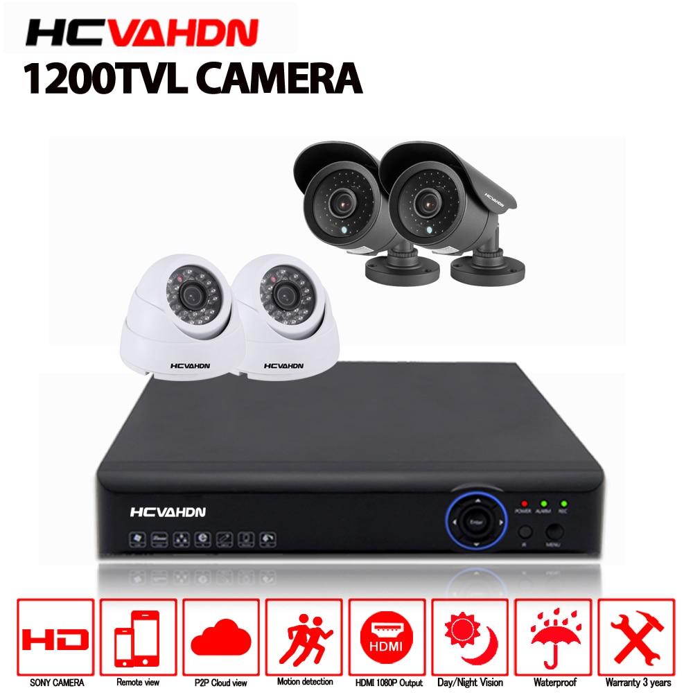Sistema de Seguridad HCVAHDN 4CH AHD DVR NVR Kit de 4 canales sistema de seguridad con domo de bala Sony CCD 4 piezas 1200TVL CCTV HD Cámara Bluetooth con HDD