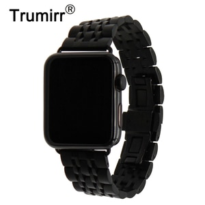 Stainless Steel Watchband for iWatch Apple Watch 38mm 42mm Butterfly Clasp Band Wrist Strap Bracelet Black Gold Silver +Adapters