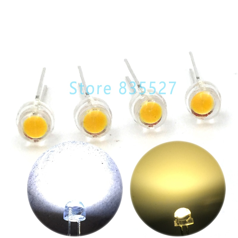 100 pcs/lot LED 5 MM F5 blanc chaud/blanc 0.25 W Super grande puce lumineuse Strawhat Diode électroluminescente lustre lampe en cristal DIP