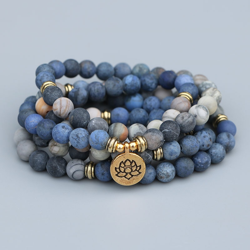 EDOTHALIA 108 Perlen Mala Lotus Armband 8MM Matte Blau Stein & Picasso Stein Frauen Männer Meditation Yoga Armbänder Drop schiff