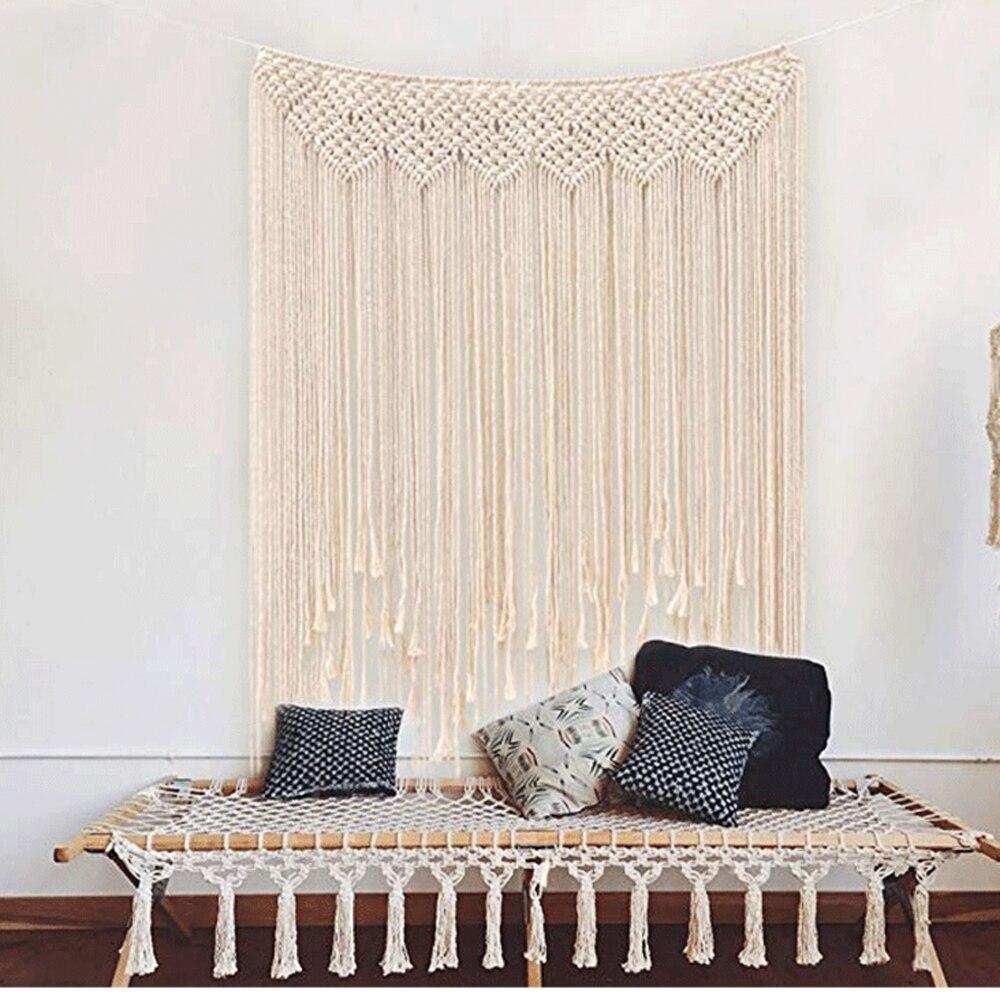Macramé colgante de pared de 100x115cm de algodón hecho a mano, tapiz de pared de tejido grande, decoración bohemia de fondo para boda para interior