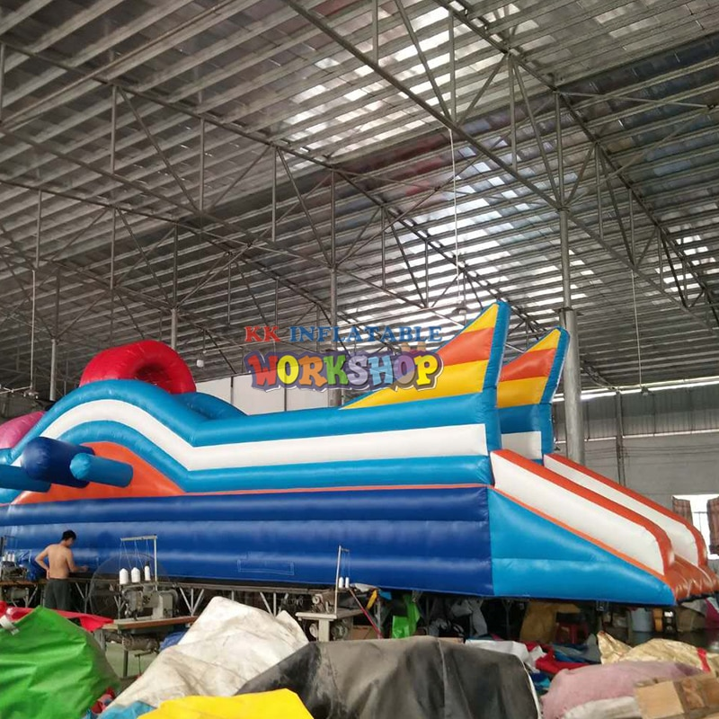Tobogán acuático con tema de cohete, tobogán acuático inflable gigante