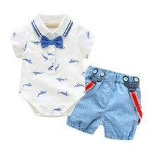 Telotuny Clothing Set For baby boys girls Summer Gentleman Bowtie Denim Short Sleeve White Shirt+Overall Blue Shorts Sets JU 19