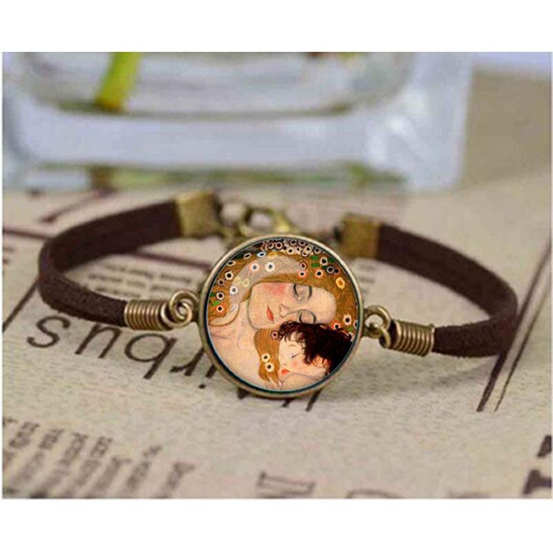 Nueva pulsera con domo de cristal Gustav, pulsera de Klimt, pulsera para madre e hijo, pulsera con imagen artística de cristal, brazalete