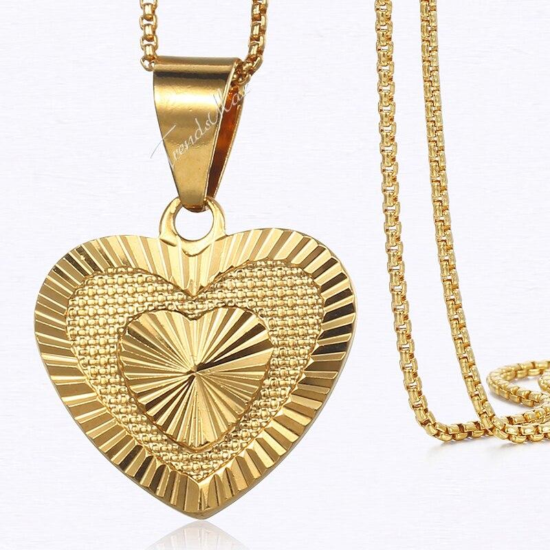 Collar de mujer con colgante de corazón, caja llena de oro amarillo, collar de cadena para mujer 45cm 50cm GP199