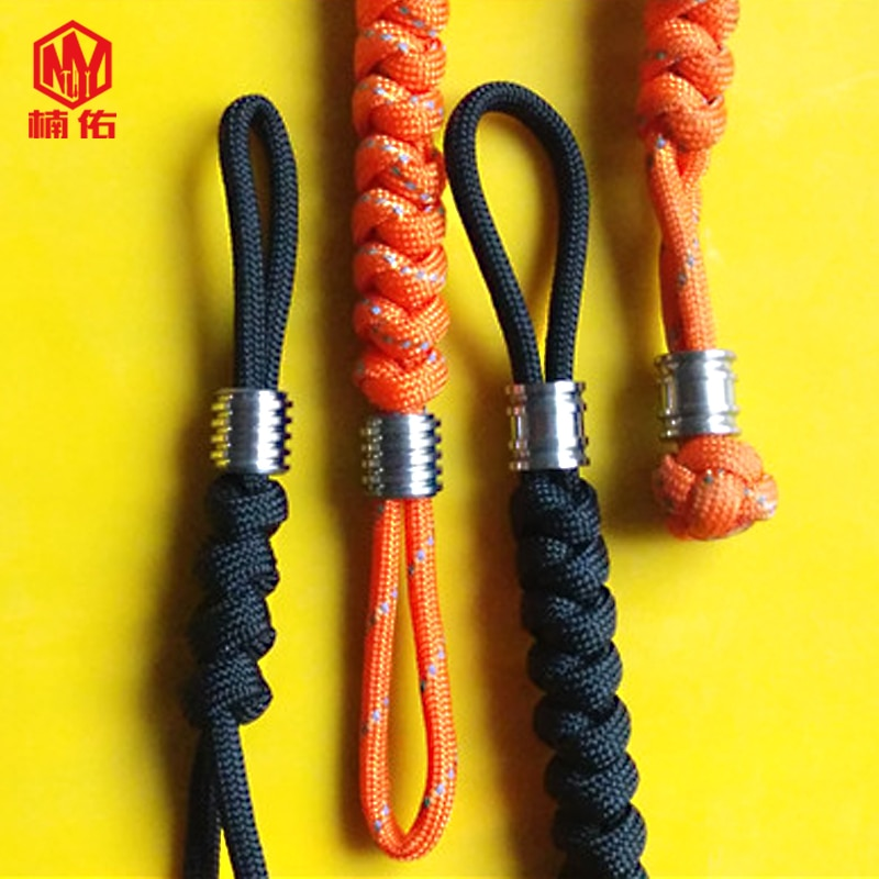 1PC EDC Handmade Paracord Rope With Titanium Paracord Beads Knife Beads Rope Cord Beads Lanyard Pendants Outdoor Accessories brass diy accessories cutter pendant umbrella rope pendants edc paracord beads knife beads