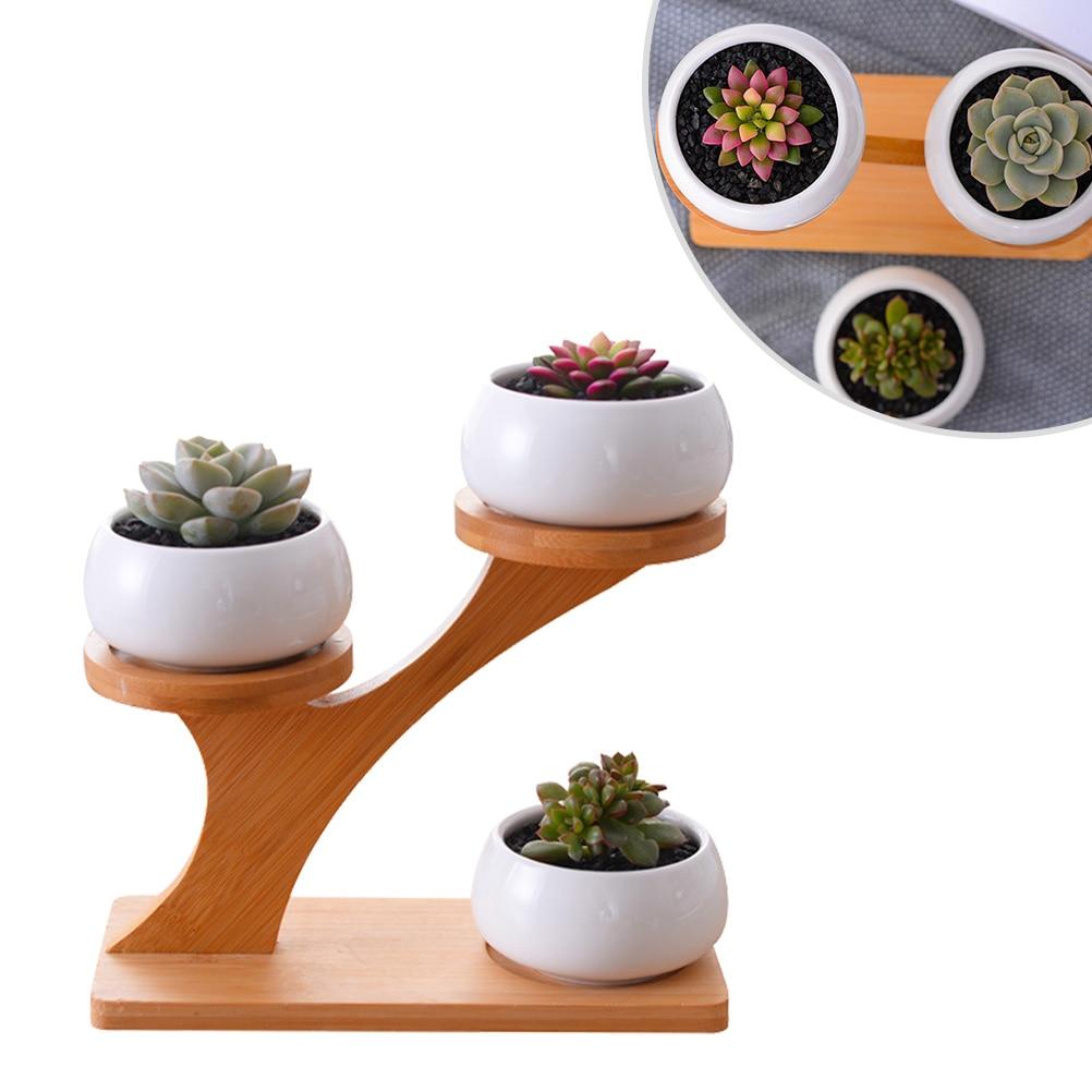 1 juego maceta de cerámica moderna maceta de cerámica minimalista maceta de plantas suculentas 3 plantadores Bonsai con estante de bambú de 3 niveles A casa
