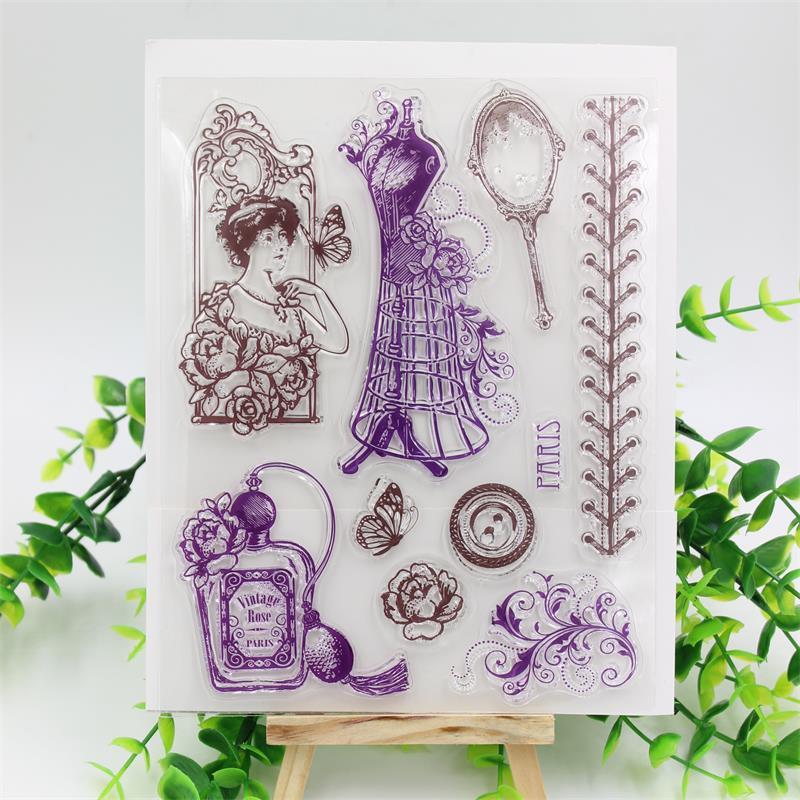 Sello de silicona transparente KSCRAFT Vintage para mujer/sello para álbum de recortes DIY/hojas de sellos transparentes decorativas para álbum de fotos 03