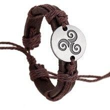 KYSZDL à la mode adolescent loup Triskele Bracelets corde de chanvre réglable bracelet en cuir véritable bracelet à breloques femmes hommes bijoux de mode