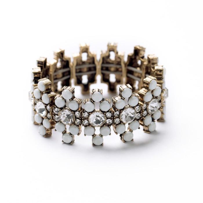 3 cores de resina de vidro geométrico elástico linha pulseira & pulseiras antigo ouro cor charme pulseira para feminino jóias indianas