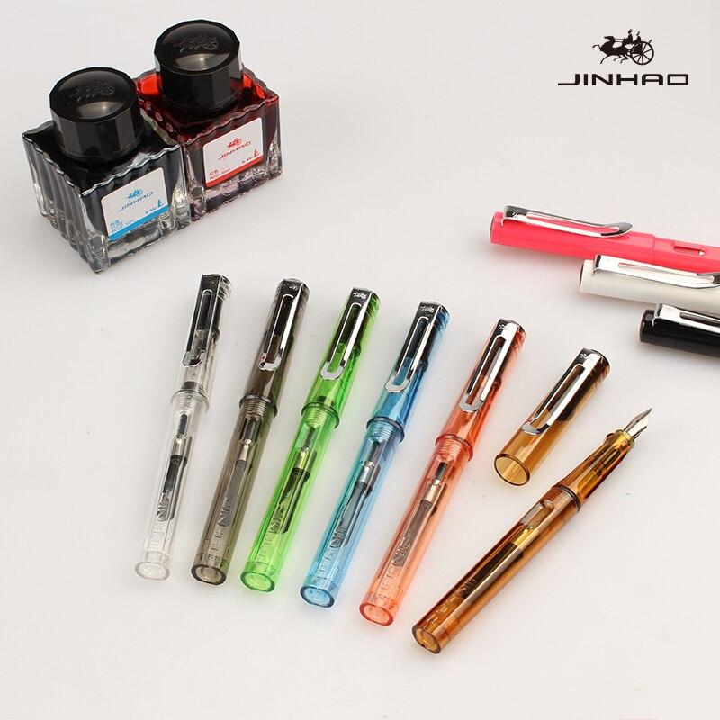 Jinhao 599 nib caneta de tinta 1pc plástico extra fino 0.5 canetas financeiras estudante correção postura escola material escritório