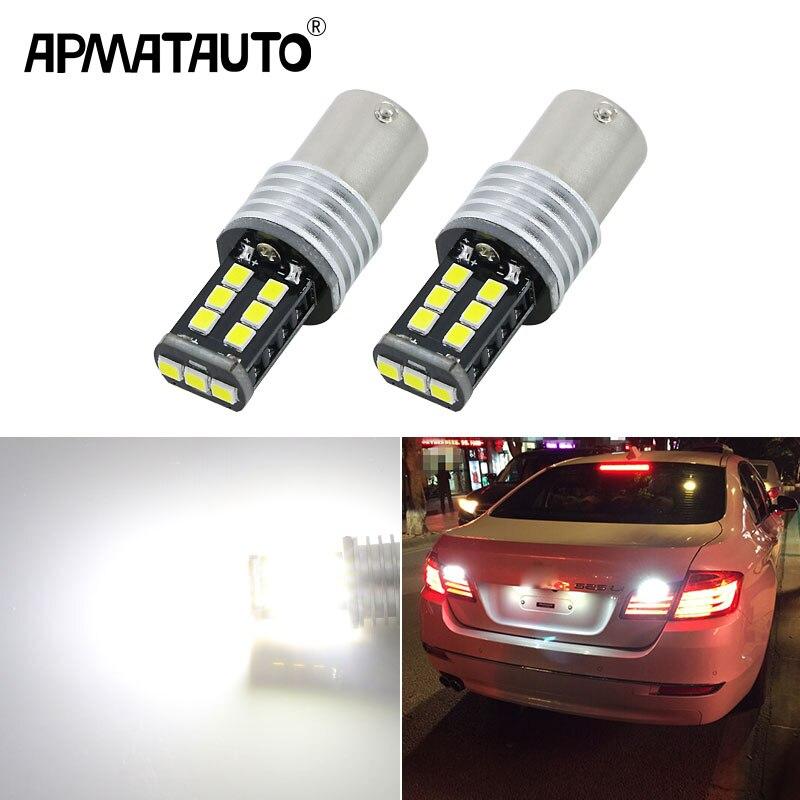 Apmatauto 2x bombillas LED 800lm para luz de retroceso de marcha atrás R5 1156 p21w ba15s para VW BMW volvo peugeot 307, 206, 2008, 308, 4008, 508