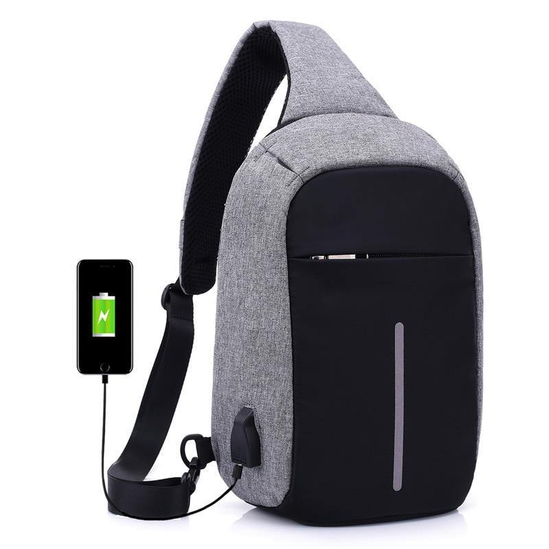 Mochila masculina carregador usb, nova mochila de ombro único, anti-roubo, masculina e feminina, carregamento furto, 2020 bolsa com zíper