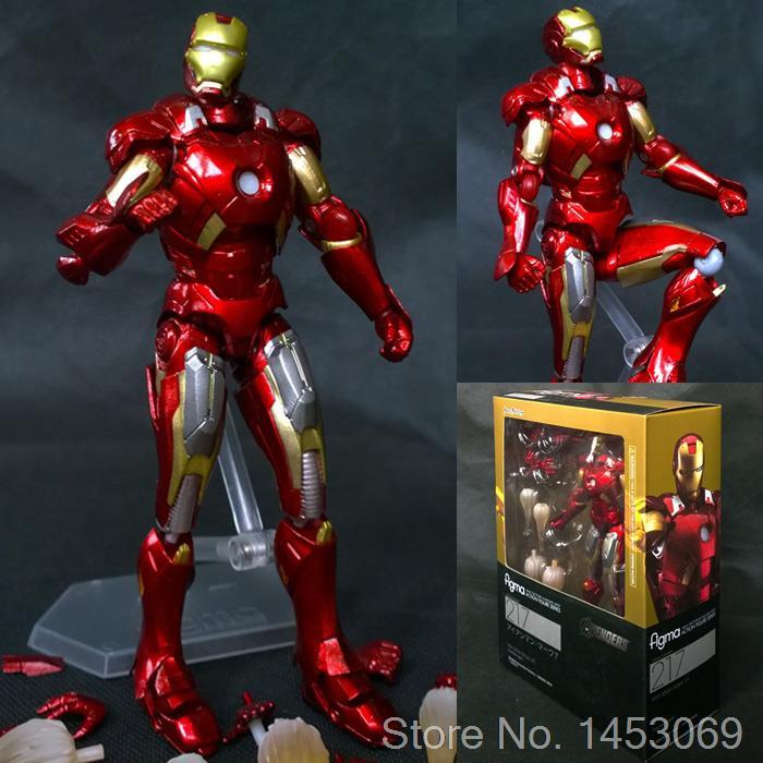 The Avengers Iron Man Mark VII MK42 Figma 217 Figma EX-018 Fima EX-026 PVC Action Figure Sammeln Modell Spielzeug 14 cm
