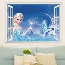 ثلاثية الأبعاد إلسا الأميرة الجدار ملصق لتزيين المنزل للإزالة وهمية نافذة الجنية غرفة الاطفال الحضانة الجدار ملصق مائي