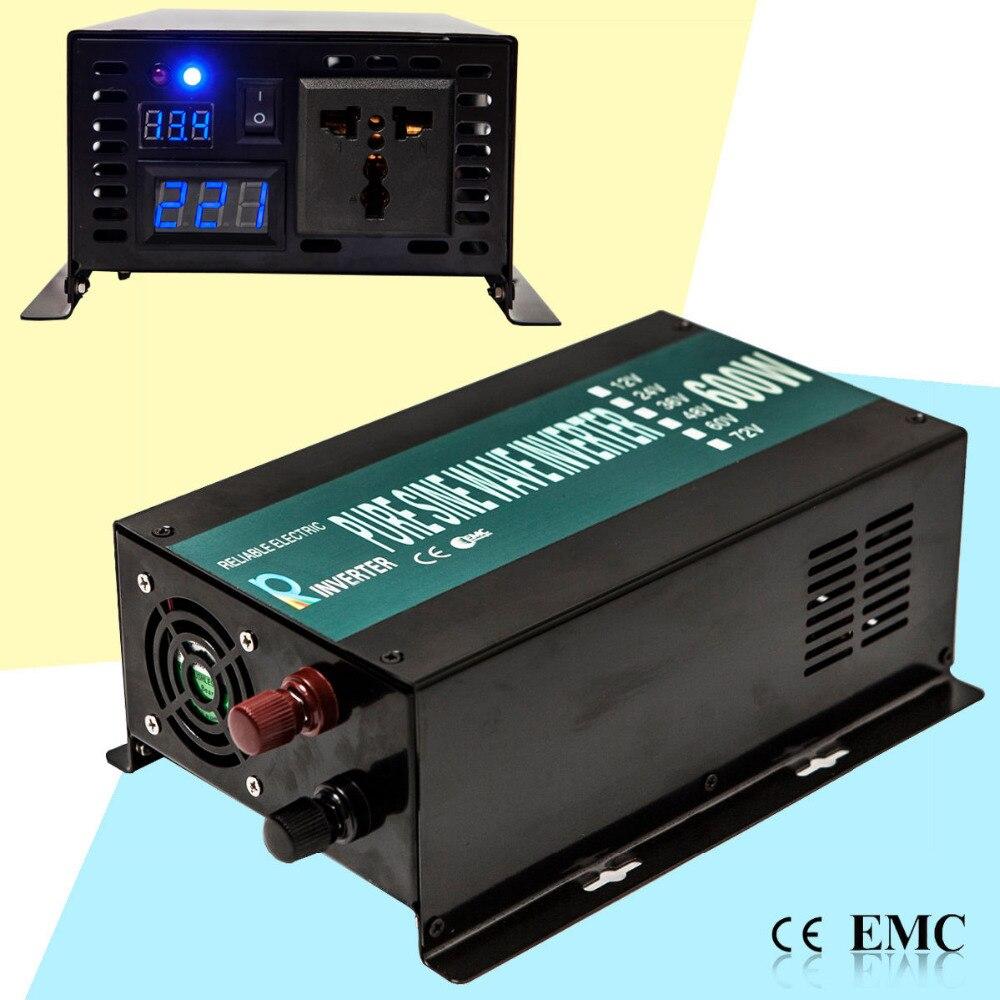 Inversor Solar de onda sinusoidal pura 600W inversor de energía portátil del coche generador 12 V/24 V CC a 100 V/120 V/220 V/240 V convertidor transformador