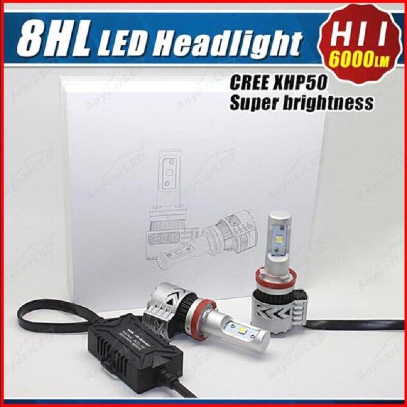 TOYIKIE 1 juego G8 H11 72W 12000LM 6500K con Chips XHP50 LED Kit de conversión de faros delanteros de coche bombilla de luz antiniebla Super blanca