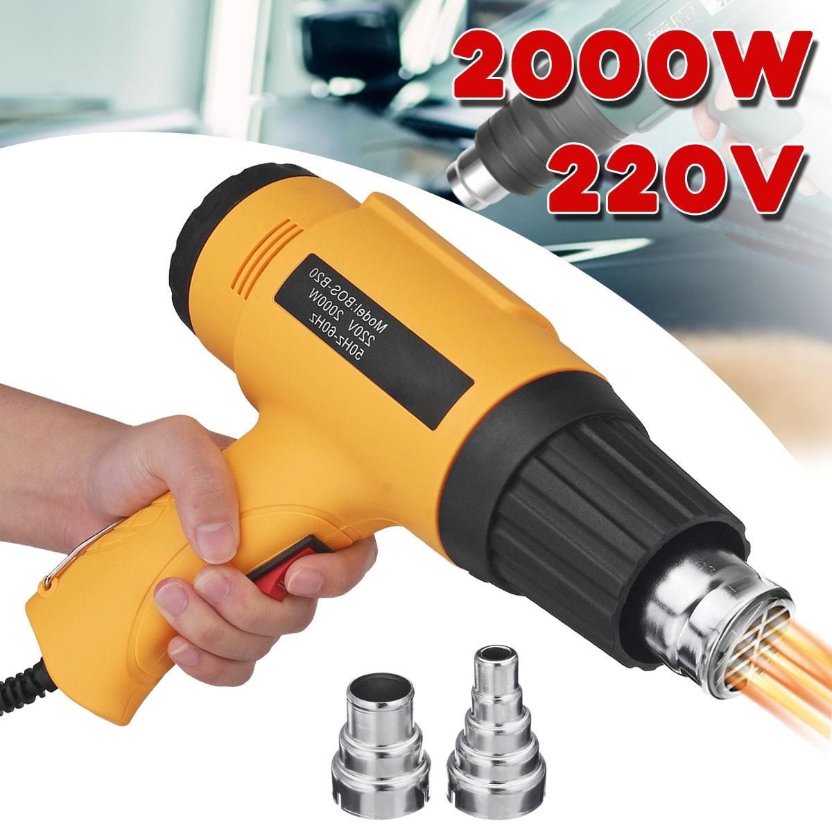 Becornce 2000W 220V Industrial Adjustable Temperature Hot Air-Gun Blower Heat-Gun W/3 5 Nozzles New 2 Colors Power Tools