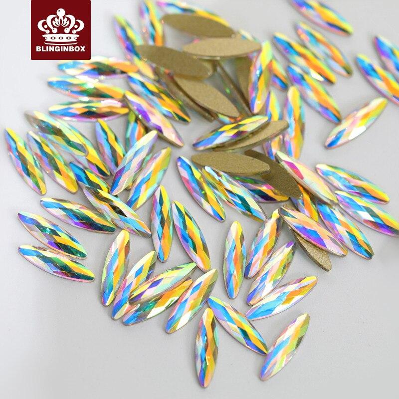 20pcs K9 Top Quality Crystal AB Nail Art Rhinestone Non Hotfix Rhinestone  Glitter Strass For Nails DIY Decoration H0924