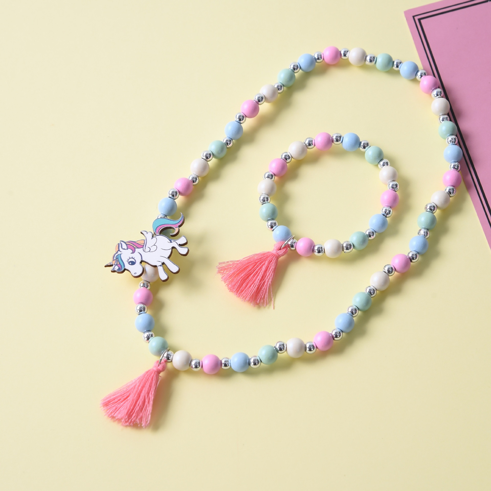 Cute Unicorn Cartoon Flower Children's sweater necklace bracelet for children gift  cp2649