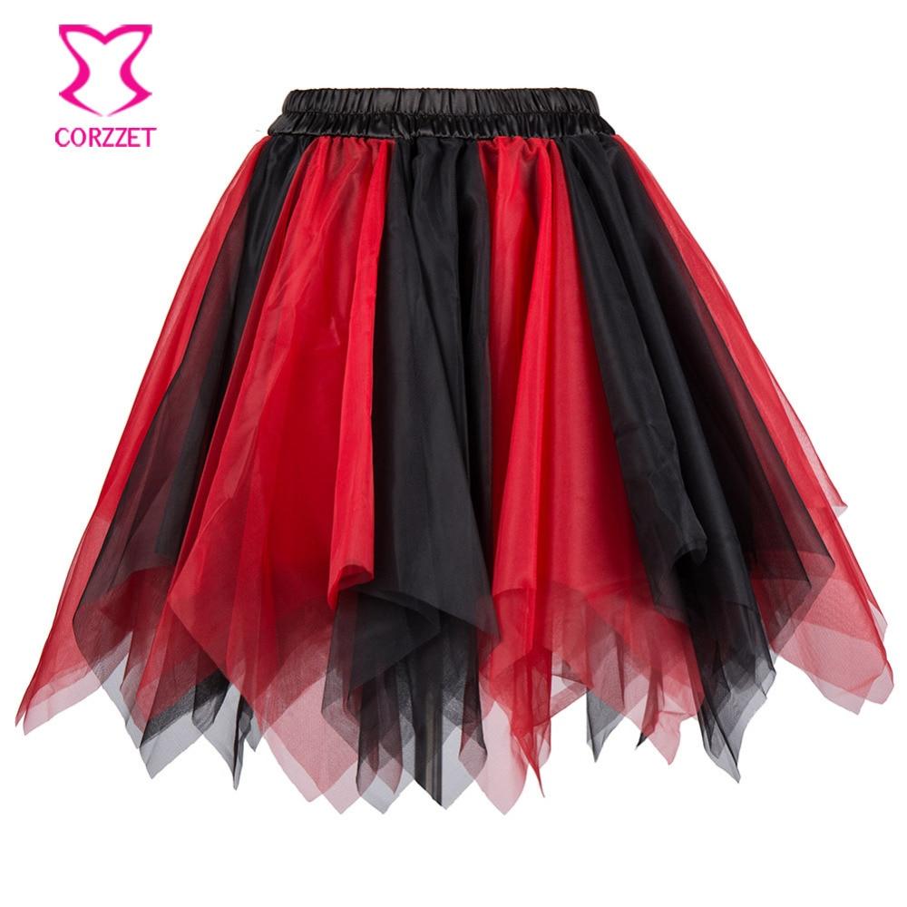 Sexy Clubwear Red & Black Multi Layered Tulle Mini Saia Tutu Lolita Underskirt Petticoat Saias Curtas Das Mulheres 2017 Matching Corset