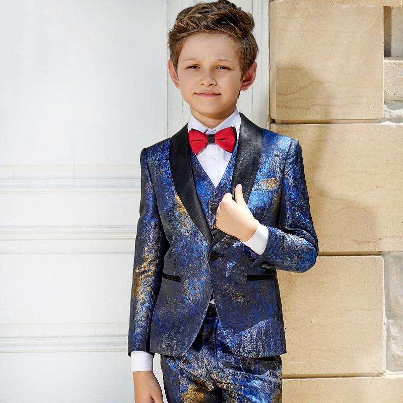 Top Quality Flower Boys Wedding Suit Kids Formal Tuxedo Children Prom  Party Performance Dress CostumeDresses Costume