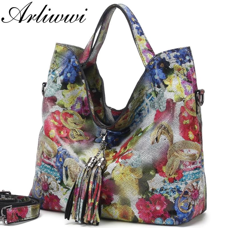Arliwwi-حقيبة يد جلدية 100% أصلية مزينة بالزهور للنساء ، حقيبة حمل ، جلد طبيعي ، فاخرة ، لامعة ، زهور ، للصيف ، GL16