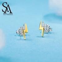 sa silverage 925 sterling silver sky city lightning gold color zirconia stud earrings for women 2019 new arrival earrings